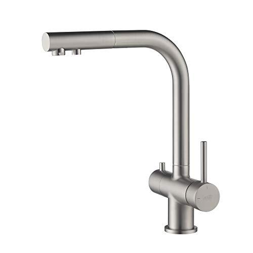 Bluewater iBath APALA - Grifo de cocina (3 vías, con ducha extraíble, filtro de agua para instalaciones de ósmosis y sistemas de agua potable (aspecto de acero inoxidable)