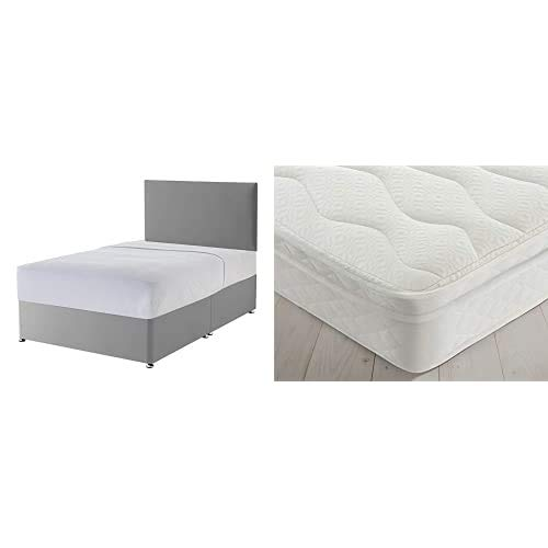 Silentnight Non Storage Divan   Slate Grey   Double with Miracoil Cushion Top Mattress   Medium Firm   Double