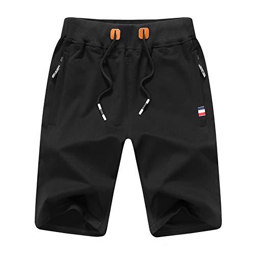 JustSun Short Sport Homme Running Coton Short de Sport Hommes avec Poches Zippées et Taille élastique Noir 3X-Large