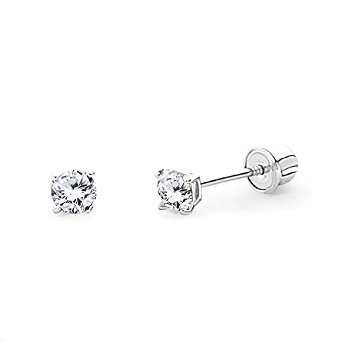 14k White Gold 2mm Round Solitaire Basket Set Stud Earrings with Screw Back