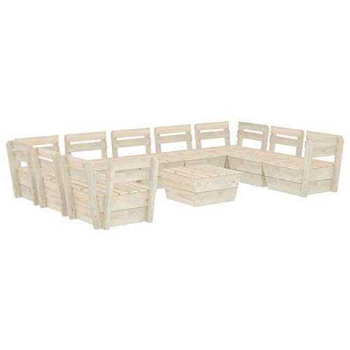 Tidyard Muebles de palets para jardín Sofá de palés para jardín 11# 10 pzas Madera de Abeto impregnada