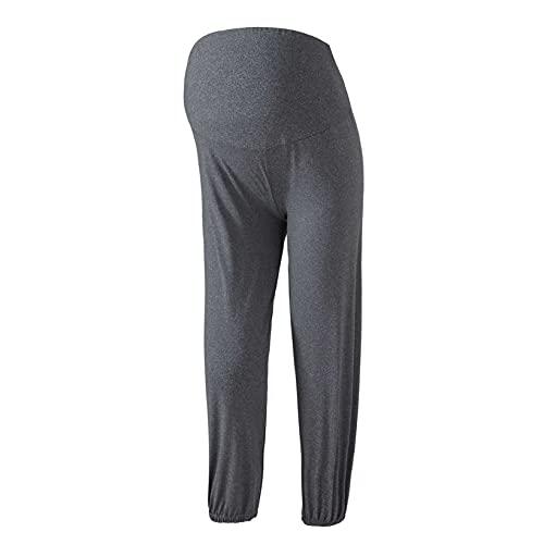 Aiihoo Pantalones capri de maternidad más el tamaño de las polainas para mujer de cintura alta control de barriga pantalones de yoga, Charcoal Grey 1, XXXL