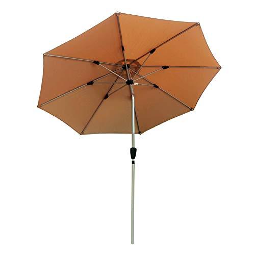 ZJM Sombrillas para Patio Sombrilla para Patio de Servicio Pesado, Sunbrella Redonda con Manivela Inclinable con Botón Pulsador, Aluminio a Prueba de Viento Paraguas de Protección Solar, Caqui