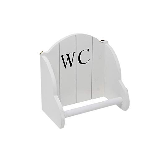 DRULINE Toilettenpapierhalter WC Klopapierhalter Rollenhalter aus Holz im Landhaus/Shabby Chic Stil Aufbewahrungsmöglichkeit | L x H x B 18 x 11 x 19 cm | Weiß