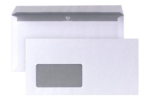 POSTHORN Briefumschlag DIN Lang (110x220mm) haftklebend mit Fenster weiß 80g 1000 Stück