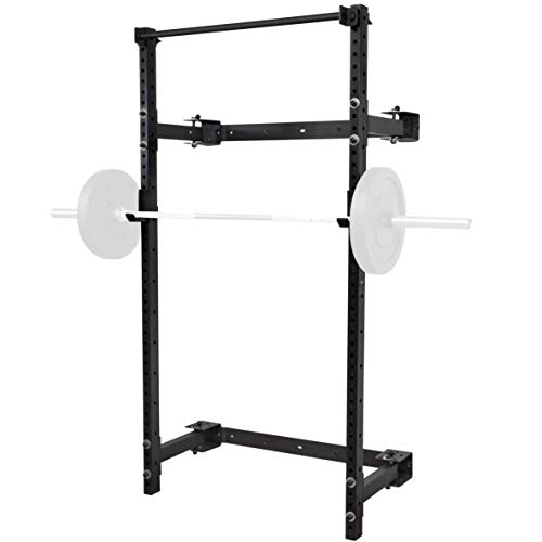 PRx Performance Murphy Rack Fold in Squat Rack, Wall Mounted Folding Power Rack, Weight Lifting Power Rack with Adjustable Pull Up Bar, Heavy Duty J-Cups, Home Gym Equipment