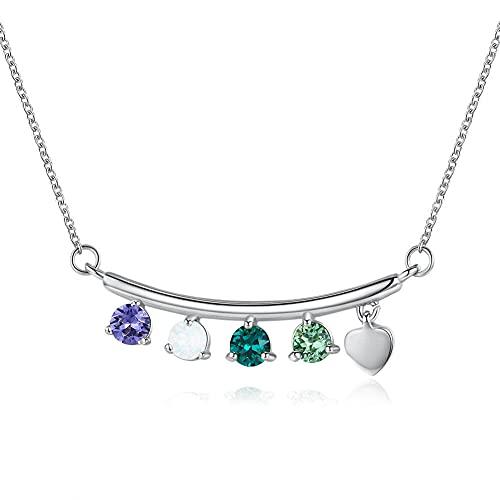 TTbaoz Collar De Gargantillas para Mujer, Joyería De Plata 925, Colorido, Deslumbrante, Cristal Austriaco Y Dulce Corazón De Color Dorado, Collar-B