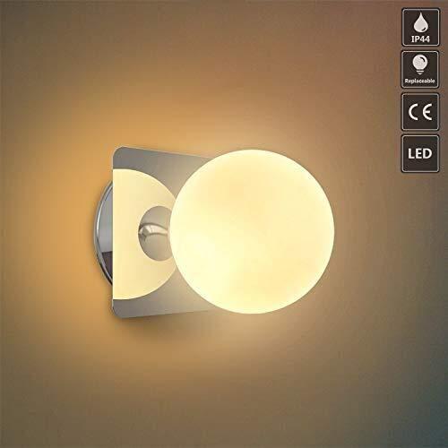 Dhl Albergo Led-wandlamp, glazen bol, oogschaduw in de vorm van een deken voor slaapkamer, woonkamer, hal,