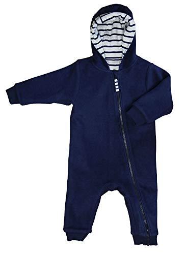 Leela Cotton Combinaison polaire réversible pour bébé en pur coton biologique Bleu marine/beige mélangé 74/80 cm