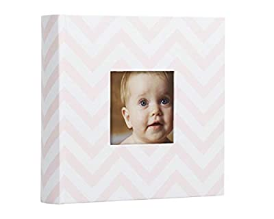 Pearhead Baby Photo Album, Baby Shower Gift, Pink Chevron