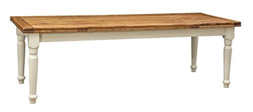 Biscottini Table Extensible en Bois Massif de Tilleul – Style Rustique – Structure Blanche vieillie Plan Naturel L 250 x P 100 x H 80 cm