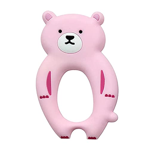 Teddy Bear Design Baby Teether Toy   Natural & Organic BPA-Free Silicone   Textured Infant Teething Relief   Freezable and Dishwasher-Safe   Chew Toys for Boys, Babies, Toddlers, Newborn (Pink)