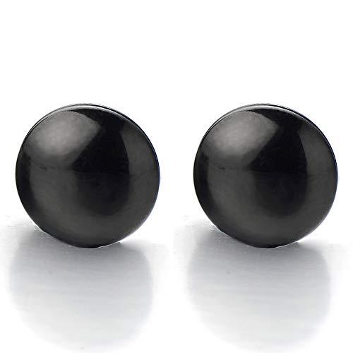 10MM Magnética Círculo Negro, Click-on Fake Piercing, Enchufe falso Fake Plug, Pendientes de Hombre Mujer, Aretes, Acero