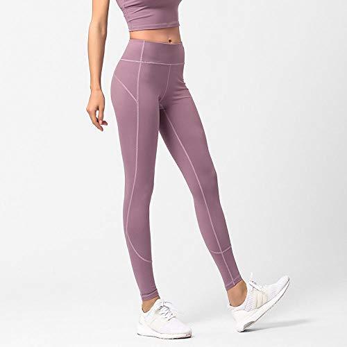 Yogabroek extra zachte legging met zakken voor dames,Panty met hoge taille, hoge taille, slanke yogabroek voor dames, lila kleur (JK03) _L,Blouse met V-hals
