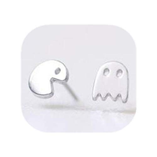 DSDDAWE23 Classic Stud Earrings Stainless Steel Pendientes Cute Pac-Man Ghost Animal Earrings for Women Kids Jewelry Silver