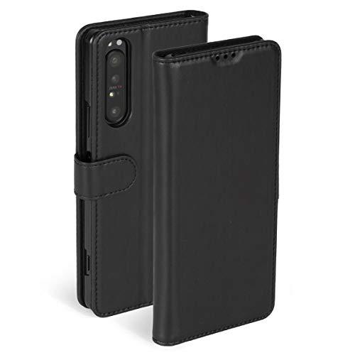 Krusell Hülle geeignet für Sony Xperia 1 II PU Leder - PhoneWallet - Schwarz Handyhülle Case PU Lederhülle mit Kartenfach und Standfunktion
