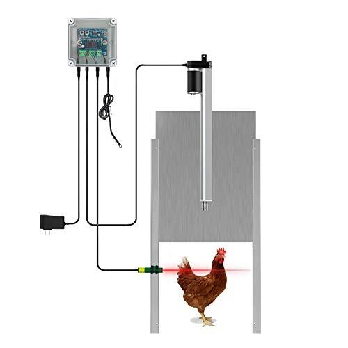 Anbt Chicken Coop Auto Door Opener Kit Door Opener & Closer with Light Sensor Rainproof Outdoor Controller Actuator Motor,Remote Control Poultry Coop (Light Sensor Version)