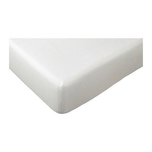 Ikea Dvala - Lenzuolo con angoli, colore: bianco, 200 x 160 cm