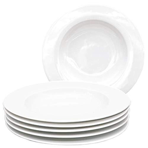 Kahla 45F189A90045B Aronda Geschirr Tellerset Porzellan Teller 6-teilig Suppenteller für 6 Personen Tiefe Teller rund weiß Nudelteller ohne Dekor