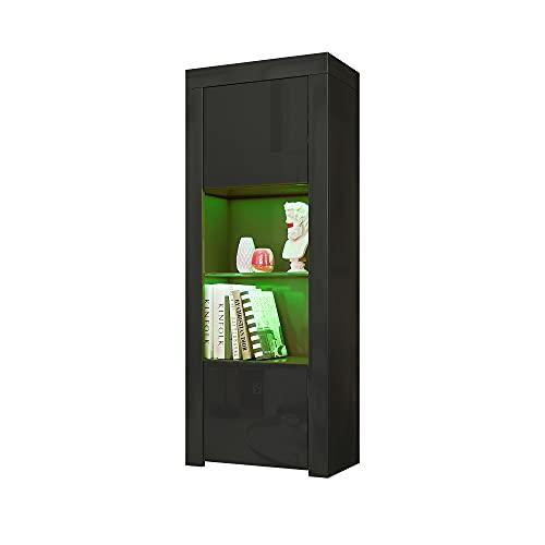 panana 160cm Tall Cabinet Two Door One Glass Shelf Cabinet Sideboard Unit Cupboard Display (Black)