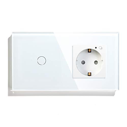 BSEED WiFi Smart Alexa Lichtschalter mit Steckdose, Kompatibel mit Google Home Tuya, Glas Touchscreen-schalter Wlan Lichtschalter 1 Gang 1 Weg Weiß (Neutrale Leitung Benötigt)