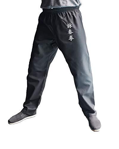 Pantaloni Kung Fu Wing Chun Calze Nere Kimono Uomo Uomo Donna Arti Marziali, Taglia L