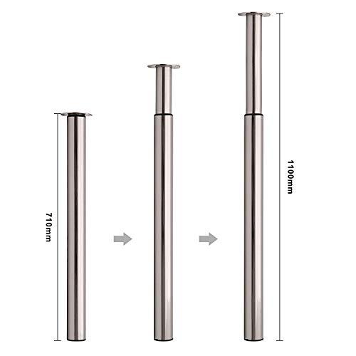 MultiWare Ø60 mm Tischbein Höhenverstellbar Tischfuß Satin Nickel Verstellbar Teleskopfuß Metall Schreibtischbein Tragkraft 50 kg