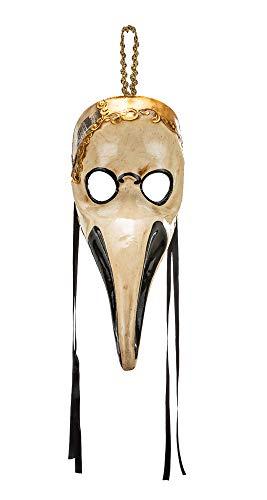Klassisch venezianische Maske des Pestdoktors, handverziert mit Blattgoldbesatz. Made In Italy