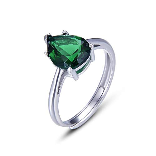 RVXZV Wassertropfenförmiger Smaragdring für Frauen Klassisches Silber 925 Schmuck Resizable Gemstones Accessoire Party