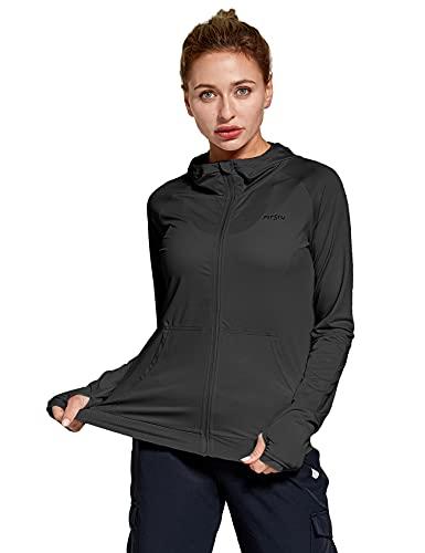 FitsT4 Sportjacke Damen Lauf Jacke Langarm Trainingsjacke voll Reißverschluss UPF 50+ Rash Guard schnelltrockend für Wanderung, Laufen, Fitness und Radfahren,Schwarz,Gr.XL