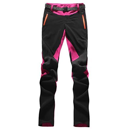 Haobing Donna Pantaloni da Trekking Outdoor Asciugatura Rapida Pantaloni Sportivi con Cintura Pantaloni Lunghi da Escursionismo (#1 Rose, CN 2XL)