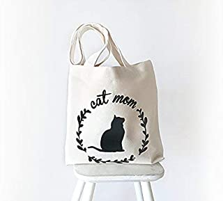 Cat Tote Bag, Mother's Day Gift, Cat Mom Gift, Cotton Canvas Tote, Gift For Cat Lover, Gift For Mom