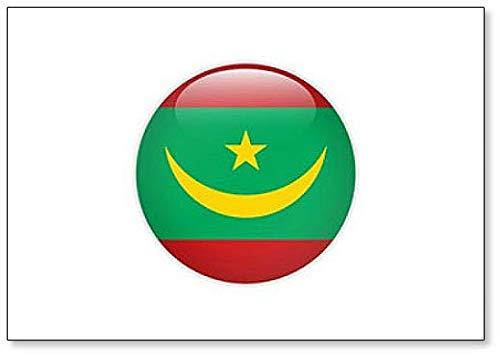 Kühlschrankmagnet Mauretanien Flagge auf Knopf, klassisch