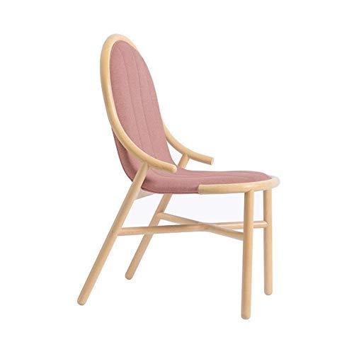 MJK Startseite Massivholz Esszimmerstuhl Salonstuhl Weiche Tasche Sessel Wohnzimmer Esszimmer Kreative Einfache Computer Stuhl Vier Farben Optional 47 × 65 × 93 Cm,Hellrot