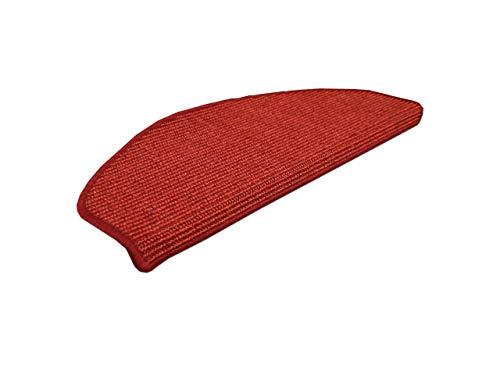 Natur Sisal Stufenmatten Rot (halbrund) einzeln oder im 15er Set in 2 Größen, Größe/Menge:24x65 cm = 1 Stck.