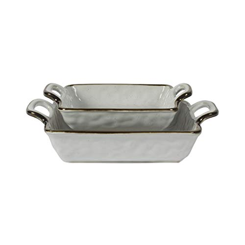 Tabletops Gallery Geneva Serveware Collection- Farmhouse White Brown Stoneware Serving Bowl Platter, 2 Piece Nesting Square Baking Dish Set