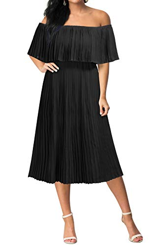 Mmondschein Women's Off Shoulder Chiffon Wedding Beach Evening Party Midi Dress Black