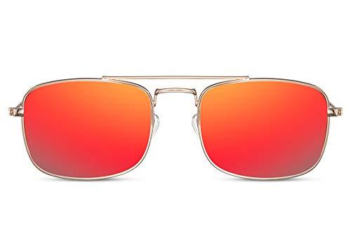 Cheapass Gafas de sol Pequeñas Amplias Doradas Metálicas Estilo Clásico con Puente Doble y Lentes Rojas Espejadas para Hombres con protección UV400