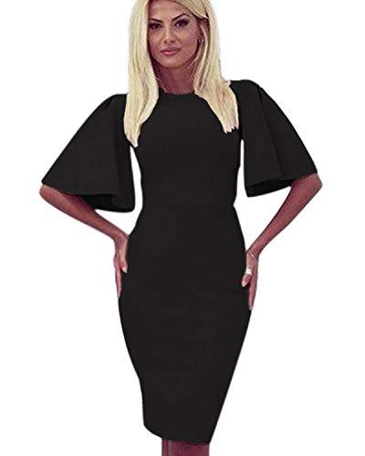 Zshujun 50s Retro Crew Neck Rockabilly Elegant Black Flare Sleeves Audrey Dress Cocktail Dress 1189 (Black, XL)