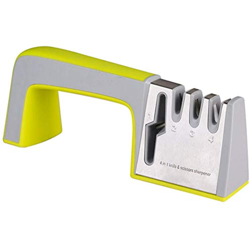 ZXYSR Kitchen Scissors and Knife Sharpener,Upgraded 4-Stage Blade Sharpener Stone(Scissors,Ceramic,Coarse,Fine). Best for Chef/Fillet Knives/Sicssors,Quickly Sharpener,Green