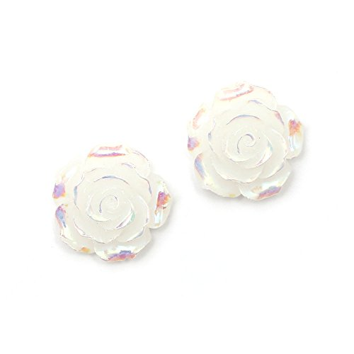 Idin - Orecchini a clip a forma di fiore di rosa, placcati in bianco lucido (ca. 18 x 18 mm)