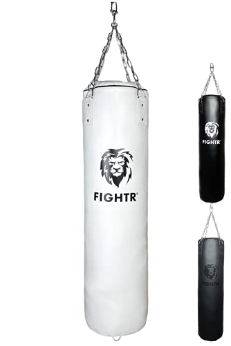 FIGHTR® Premium Boxsack - hoher Schlagkomfort & sehr Robust   ungefüllter Punching Bag hängend 120x35cm inkl. Heavy Kette für Boxen, Kampfsport, MMA (ungefüllt, Weiß Kunstleder)