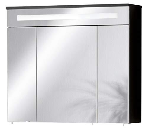 FACKELMANN LED Spiegelschrank Kara/mit Soft-Close-System/Maße (B x H x T): ca. 80 x 70 x 23 cm/Schrank für das Bad/Möbel fürs WC oder Badezimmer/Korpus: Anthrazit/Front: Spiegel