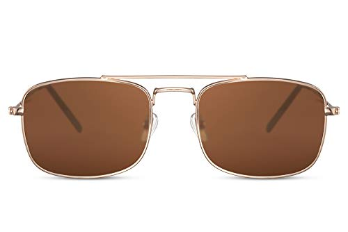 Cheapass Gafas de sol Pequeñas Amplias Doradas Metálicas Estilo Clásico con Puente Doble y Lentes Marrones para Hombres y Mujeres con protección UV400
