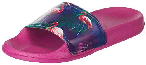Brandsseller Damen Pantolette Badelatschen Hausschuhe Flamingo Größe: 37