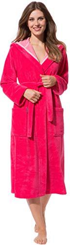 Morgenstern Bademantel Damen mit Kapuze Geena in Pink Duschbademantel Morgenmantel Reisebandemantel einfarbig Frauen lang XS Saunabademantel