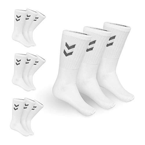 hummel Socken 12er Pack (4 x 3er Pack) in weiß/anthracit | Sportsocken für Damen und Herren | perfekt für den Alltag (36-40)