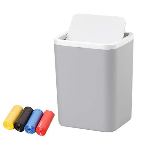 Grauer Abfalleimer mit Schwingdeckel für Zuhause, 1,5 l kleiner Abfalleimer für Arbeitsplatte mit Müllbeutel, Kunststoff-Tischeimer für Schlafzimmer Stil Größe Mit 100 Müllbeuteln.