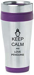 Purple 16oz Insulated Stainless Steel Travel Mug Z447 Keep Calm and Love Penguins by MIP