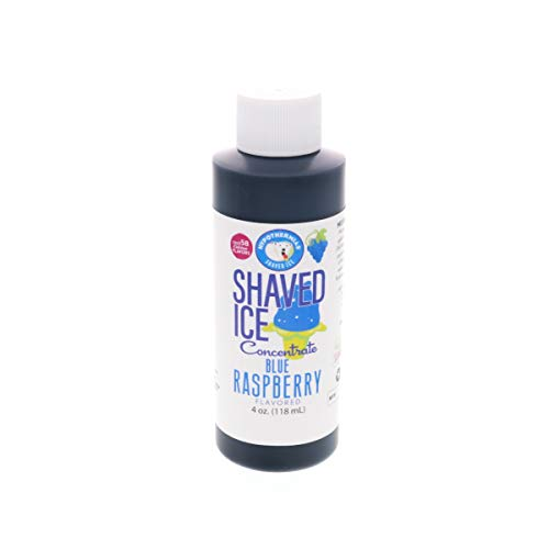 Blue Raspberry Shaved Ice and Snow Cone Flavor Concentrate 4 Fl. Ounce Size (makes 1 gallon of syrup with sugar and water added)